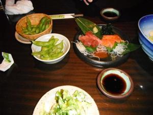 Edamame, sashimi etc...yummy!