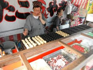 Takoyaki stall at the riverside.